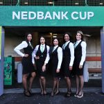 General view of Nedbank Ke Yona branding and promotional girls during the 2017 Nedbank Cup
