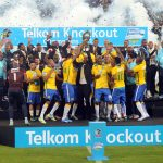 Mamelodi Sundowns celebrate winning the 2015 Edition during the Telkom Knockout Final match between Mamelodi Sundiowns and Kaizer Chiefs on 16 December 2015 at Moses Mabhida Stadium Pic Sydney Mahlangu/ BackpagePix